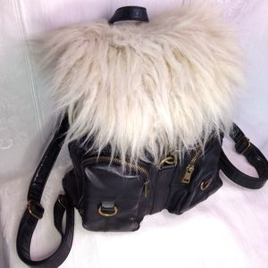"11"" Nasty Gal Fur Backpack Purse - Fur Vegan Funky"